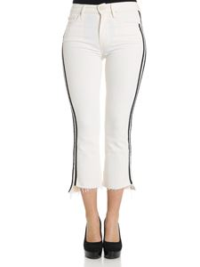 MOTHER - White Insider Crop jeans with side black bands