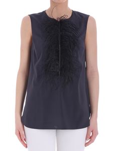 Brunello Cucinelli - Blue top with feathers
