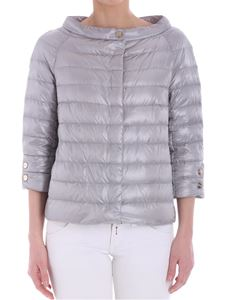 Herno - Dove-gray down jacket with three-quarter sleeves