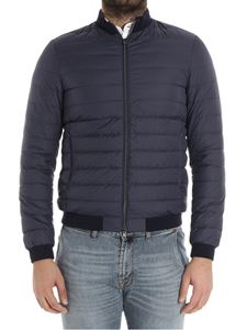 Herno - Blue down jacket with knitted inserts