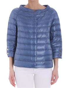 Herno - Liht-blue down jacket with three-quarter sleeves