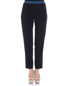 Jucca - Black trousers with striped elastic