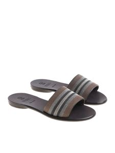 Brunello Cucinelli - Brown sandals with micro beads