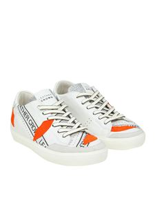 Leather Crown - Leather sneakers with orange inserts