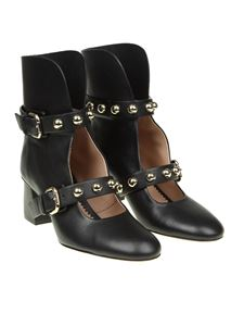 Red Valentino - Black leather ankle boots with straps
