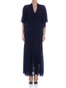 Fuzzi - Blue dress with gathered necklline