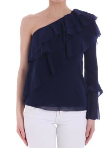 Fuzzi - Blue one-shoulder top with ruffles