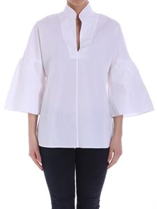Fuzzi - White blouse with flared sleeves