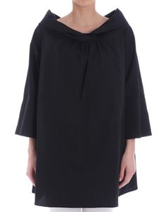 Fuzzi - Black blouse with boat neckline