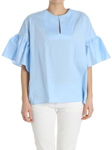 Fay - Light blue blouse with flared sleeves