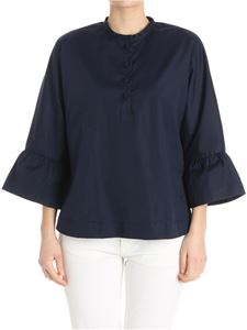 Fay - Blue blouse with flared sleeves