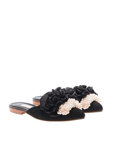 Pokemaoke - Black mules with pearls and flowers