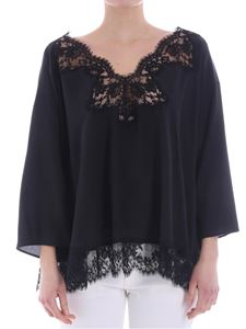 Ermanno by Ermanno Scervino - Black oversize blouse with lace