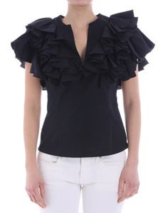 KI6? Who are you? - Black top with ruffles