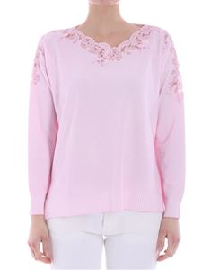 Ermanno by Ermanno Scervino - Pink sweater with lace insert