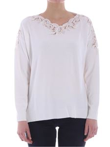 Ermanno by Ermanno Scervino - White sweater with lace insert