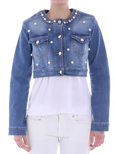 KI6? Who are you? - Blue demin jacket with pearls and rhinestones