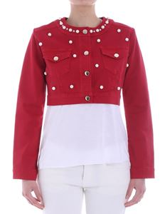 KI6? Who are you? - Red demin jacket with pearls and rhinestones