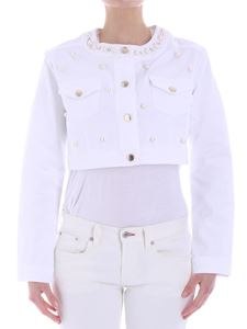 KI6? Who are you? - White demin jacket with pearls and rhinestones