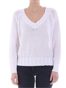 Lorena Antoniazzi - White sweater with golden sequins
