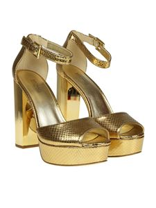 Michael Kors - Paloma golden sandals with reptile print