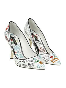 Dolce & Gabbana - White pointy pumps with Murales print