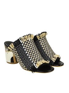 Proenza Schouler - Black and beige raffia sandals