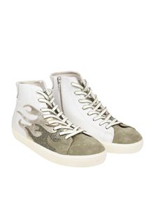 Leather Crown - White flames sneakers