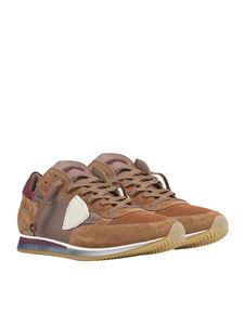 Philippe Model - Brown leather sneakers with logo
