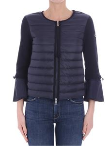 Moncler - Blue quilted cardigan with flared sleeves