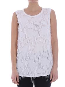 her shirt - White top with fringed inserts