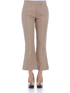 MSGM - Beige pants with lime-colored embroidery
