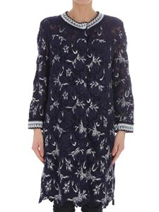 Ermanno Scervino - Blue lace overcoat with white embroidery