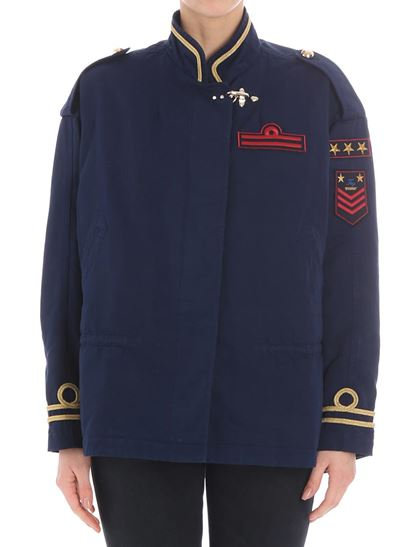 Fay spring summer blue jacket with golden embroidery