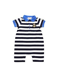 Moncler Jr - White and blue striped romper