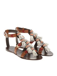 Tory Burch - Sandalo Weaver marrone e bianco