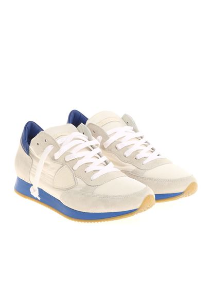 White and blue Tropez L sneakers Philippe Model qjw1K1aln