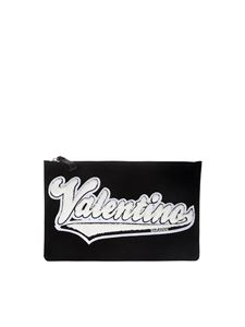 Valentino - Clutch with white fabric logo