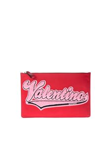 Valentino - Red clutch with pink fabric logo