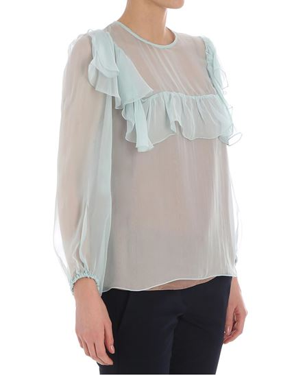 Buy Online Authentic Cheap View Light blue blouse with ruffles Rochas Extremely Cheap Online RgX6x