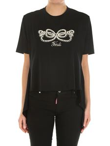 Fendi - Black asymmetric top with pearls and bows