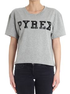 PYREX - Gray cropped t-shirt with logo