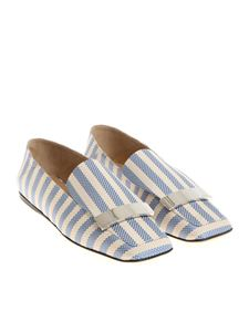 Sergio Rossi - Ivory and light blue Portofino moccasins