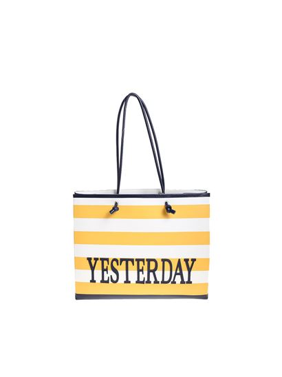 Alberta Ferretti Yellow and white striped Yesterday shopper hqYme