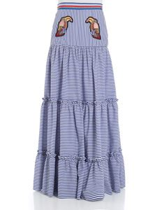 Stella Jean - Striped skirt with toucans