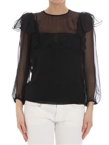 Rochas - Black blouse with ruffles