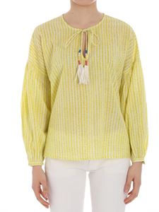 Essentiel - Lime and white blouse