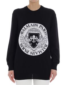 Balmain - Black sweater with logo embroidery