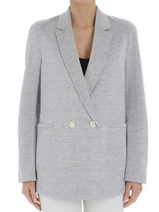Harris Wharf London - White and gray double-breasted knitted jacket