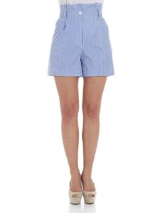 Ermanno by Ermanno Scervino - White and blue high-waisted shorts